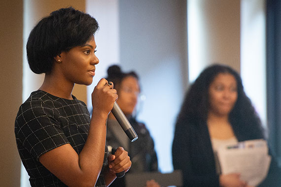 Teanna Bass pitches her business idea at the EQ competition