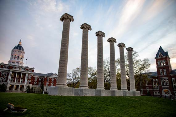 Jesse Hall and the columns at the University of Missouri