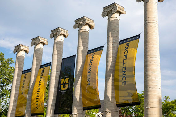 Columns with banners