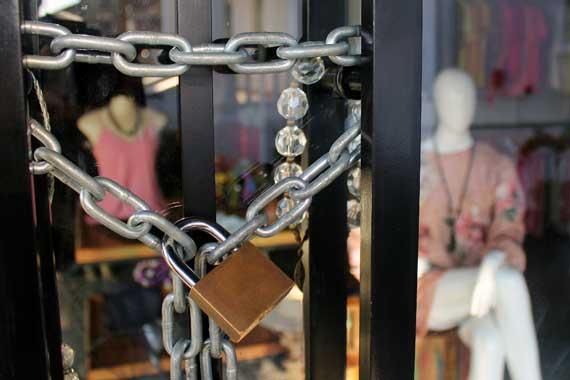 Locked clothing store doors