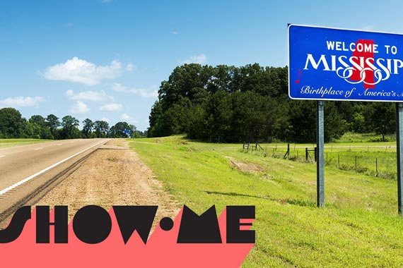 Show-Me written over a road into Mississippi